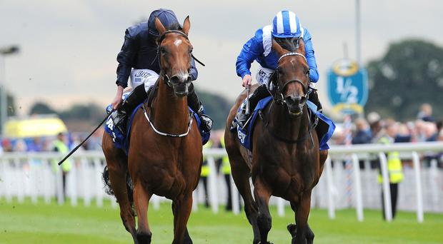 Tapestry (left) gets the better of Taghrooda at York
