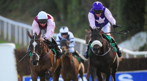 Definite Ruby (right) comes to win her race under Barry Geraghty