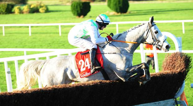 The front-running Balbriggan jumps the last on his way to winning the Troytown