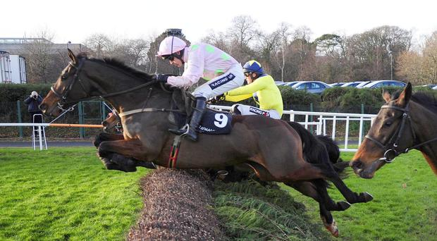 28-12-13 LEOPARDSTOWN DJAKADAM and Ruby Walsh jump the final fence befor beating Si C'etait Vrai (Right) for trainer Willie Mullins. HEALY RACING PHOTO