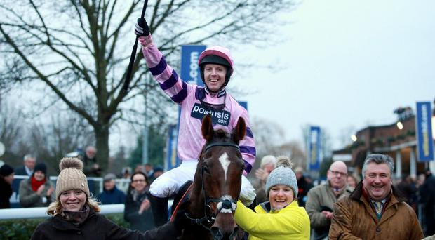 Whip hand: Silviniaco Conti and Noel Fehily after Kind George success at Kempton Park