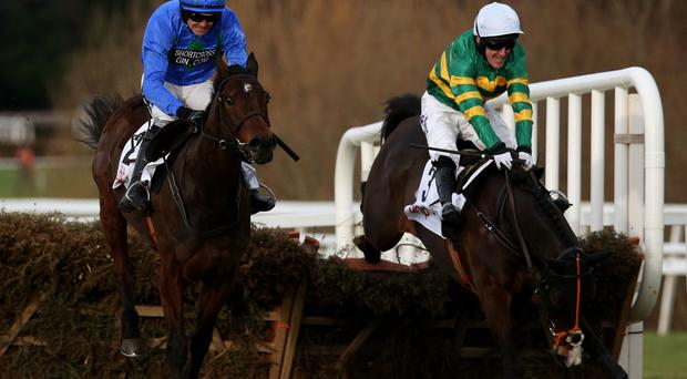 Hurricane Fly (left) clears the last ahead of Jezki on the way to winning the The BHP Insurances Irish Champion Hurdle at Leopardstown
