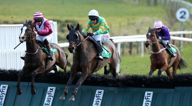 In good hands: Barry Geraghty, who is expected to star at next week's Cheltenham Festival, rides Jumptoconclusions to victory yesterday at Downpatrick