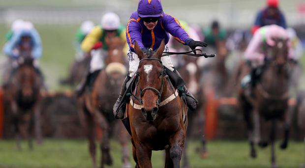 Wicklow Brave ridden by jockey Paul Townend prior to winning the Vincent O'Brien County Handicap Hurdle