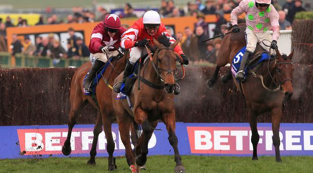 Djakadam (right, pink silks) jumps the last in the Cheltenham Gold Cup near Road To Riches (maroon) and eventual winner Coneygree (red and white)