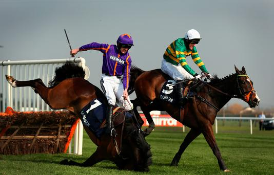Hardest game: Tony McCoy and Jezki go on to win the Aintree Hurdle after Ruby Walsh and Arctic Fire fall at the last