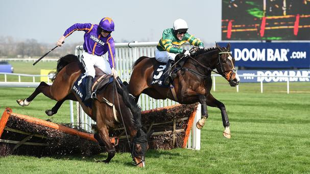 Arctic Fire (left) is reportedly fine after his fall at Aintree