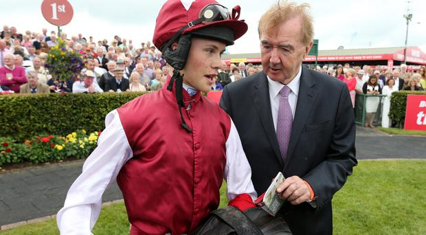 In the running: Trainer Dermot Weld, joined by jockey Finian Maguire, is hoping Don Camillo can do the business