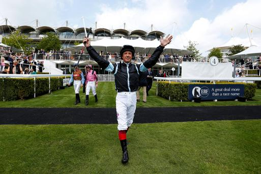 It's me: Frankie Dettori greets connections in the parade ring ahead of ride on Captainthunderbolt in opener at Goodwood
