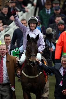 Top of world: Paul Carberry, in action at Down Royal tonight, enjoys World Hurdle success on Solwhit at Cheltenham Festival