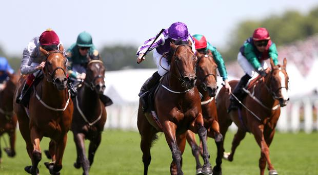 Waterloo Bridge (purple silks) ridden by Jockey Ryan Moore on the way to winning the Norfolk Stakes