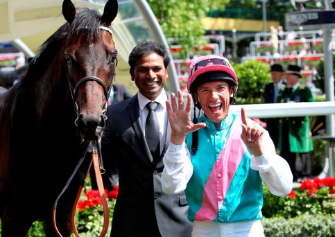 Big number: Frankie Dettori celebrates win number 51 at Royal Ascot on Time Test