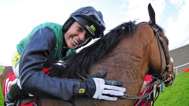 Kate Harrington is all smiles after victory aboard Modem at the Galway Festival