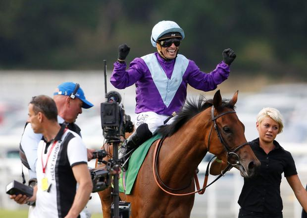 Queen rules: Silvestre De Sousa after riding Arabian Queen to a shock victory in the Juddmonte International at York