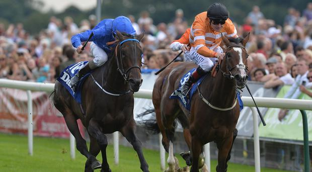 Pleascach (left) beats Covert Love to win the Darley Yorkshire Oaks