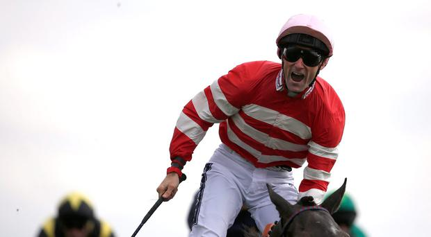 Give us a shout: Paul Mulrennan after riding Mecca's Angel to victory in the Nunthorpe Stakes at York's Ebor Festival
