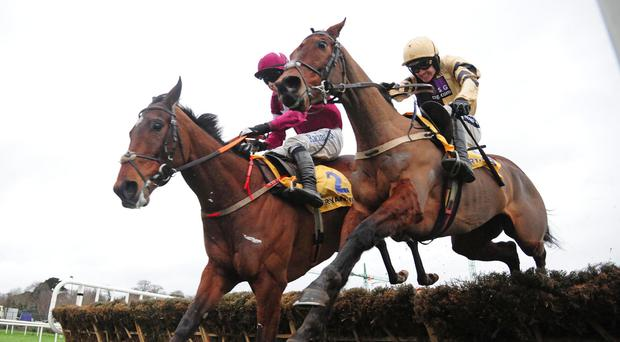 Nichols Canyon (right) gets the better of Identity Thief (left) to win the Ryanair Hurdle at Leopardstown
