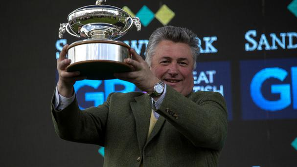 Trainer Paul Nicholls with the Champion National Hunt Trainers Trophy