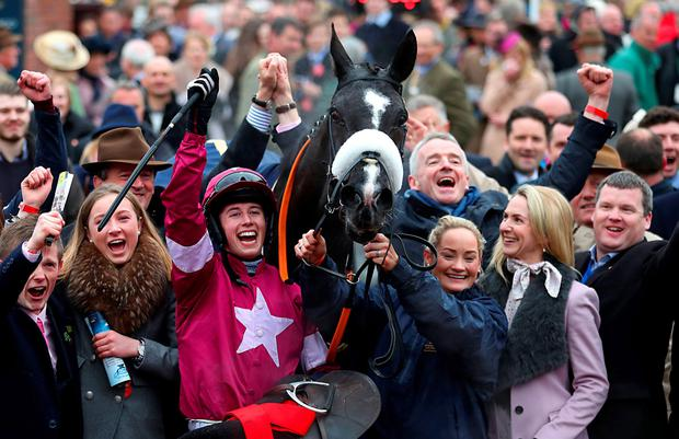 Star quality: Top jockey Bryan Cooper, celebrating Cheltenham Gold Cup success on Don Cossack in March, will be in action at Downpatrick this evening with a strong book of rides