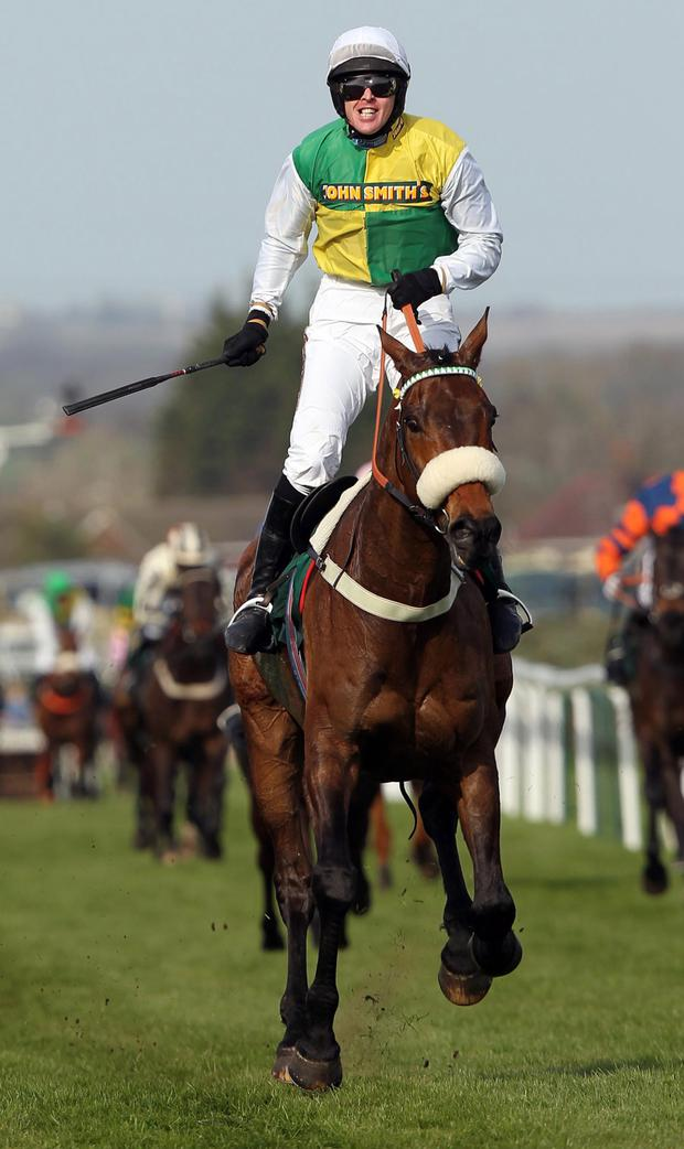 Feeling grand: Jason Maguire wins the 2011 Grand National on Ballabriggs