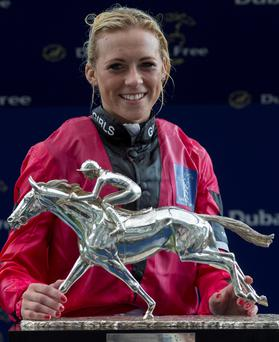 Happier times: Sammy Jo Bell with top jockey award at Shergar Cup