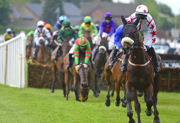 Out in front: Wakea, ridden by Johnny Barry, on way to winning the Data Select Maiden Hurdle at Down Royal last night