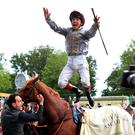 Hitting the heights: Frankie Dettori celebrates after winning the feature St James's Palace Stakes on Galileo Gold at Royal Ascot yesterday