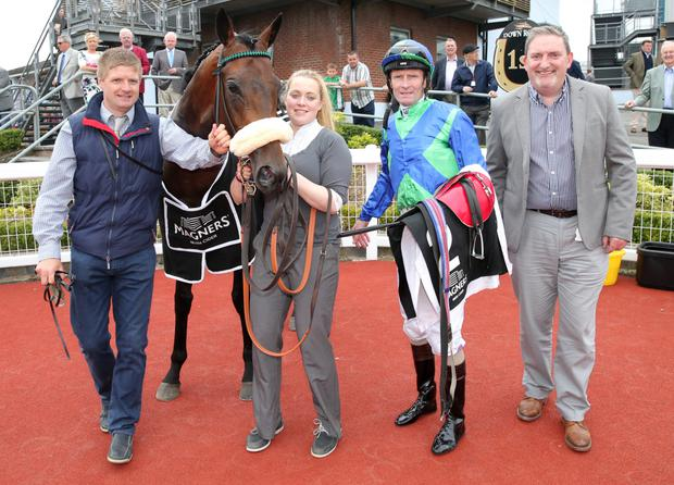 Mighty Mass: Ulster Derby winner Stellar Mass with (from left) John Griffin, representing owner June Judd, stable girl Sinead O'Brien, jockey Kevin Manning and Terry McCourt of sponsors Magners