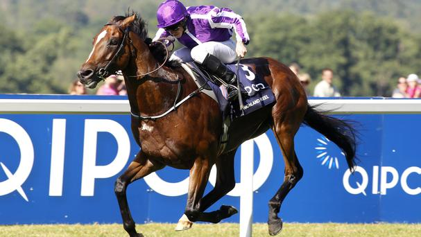 Highland Reel ridden by Ryan Moore wins the King George VI And Queen Elizabeth Stakes at Ascot