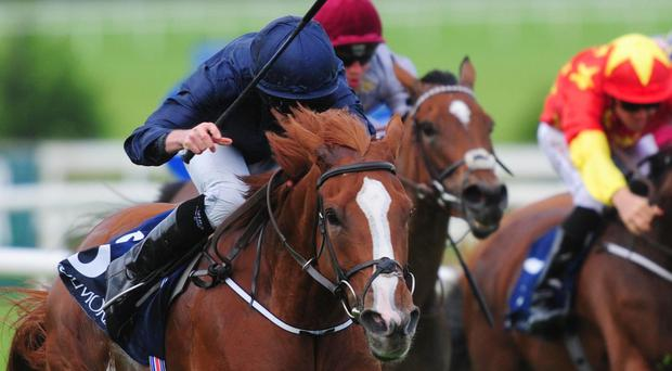 Alice Springs and Ryan Moore win the Coolmore Fastnet Rock Matron Stakes at Leopardstown
