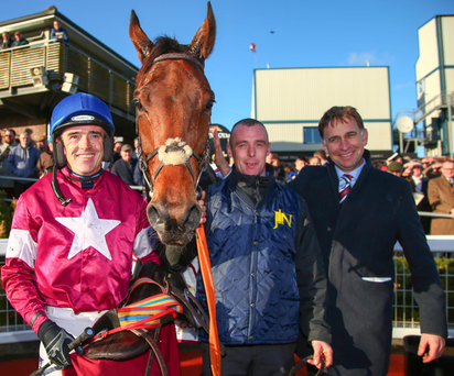Lido shuffle: jockey Ruby Walsh with Down Royal Festival feature race winner Valseur Lido and successful trainer Henry De Bromhead (left)