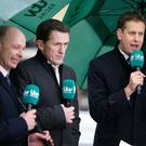Winners alright: ITV Racing team of presenter Ed Chamberlain (right) with AP McCoy and Luke Harvey (left) at Cheltenham