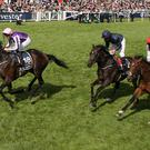 Wings Of Eagles (left) beats Cliffs Of Moher (centre) in the Derby