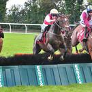 Ballyegan Hero (red and white silks, white cap) wins at Galway