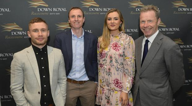 Boxing clever: (from left) Carl Frampton, leading jockey Jamie Codd, former Miss Northern Ireland Tiffany Brien and broadcaster, and former top jockey, Mick Fitzgerald at yesterday's Down Royal Festival launch at the Ulster Museum in Belfast