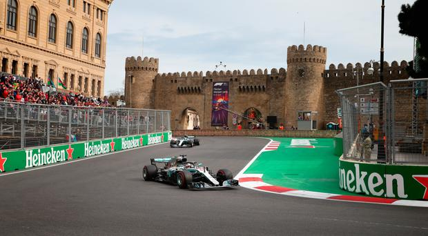 Roaring back: Lewis Hamilton heads towards his first victory in six races at Azerbaijan