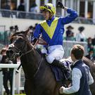 Word perfect: James Doyle after winning on Poet's Word for record-breaking trainer Sir Michael Stoute in the Prince of Wales's Stakes at Royal Ascot yesterday