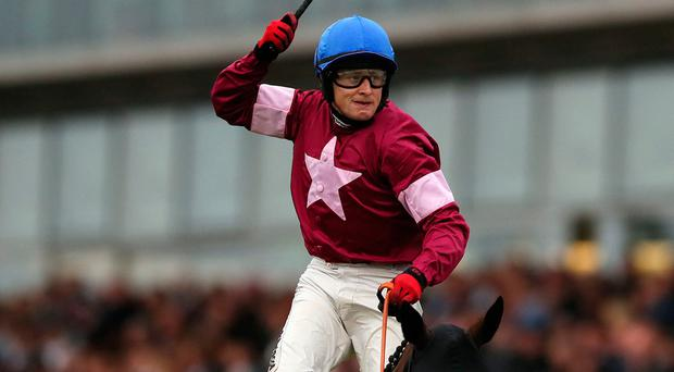 Mark of distinction: Mark Enright celebrates winning the prestigious Galway Plate on Clarcam last night