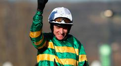 In form: Barry Geraghty rides Lleyton in the Handicap Hurdle