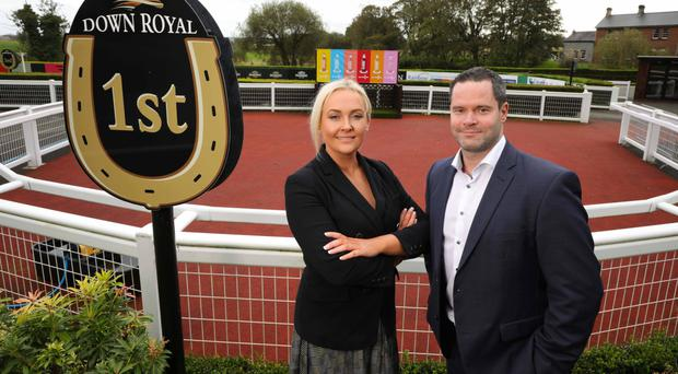 Starter's orders: Down Royal's Emma Meehan and Brendan Loughran of sponsor WKD