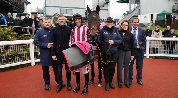 Sublime success: yesterday's feature race winner, Coeur Sublime, with jockey Davy Russell and connections