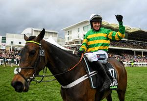 Final hurrah: Barry Geraghty celebrates after winning the Unibet Champion Hurdle Challenge Trophy at Cheltenham
