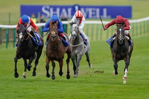 Home run: Kameko, ridden by Oisin Murphy (right), wins The Shadwell Joel Stakes at Newmarket yesterday
