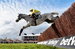 High point: Politologue, ridden by Harry Skelton, on the way to winning the Betway Queen Mother Champion Chase