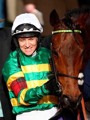 Barry Geraghty following victory in the RSA Insurance Novices' Chase aboard Champ