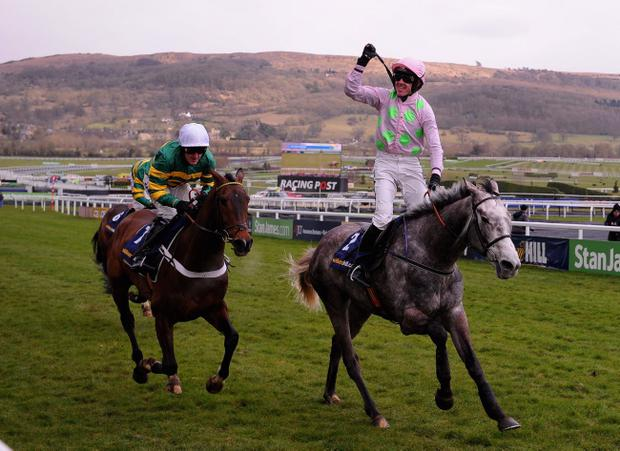 CHELTENHAM, ENGLAND - MARCH 12: Ruby Walsh celebrates winning The William Hill Supreme Novices' Hurdle Race on Champagne Fever during Champion Day at Cheltenham Racecourse on March 12, 2013 in Cheltenham, England. (Photo by Michael Regan/Getty Images)