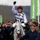 Simonsig ridden by jockey Barry Geraghty after winning the Racing Post Arkle Challenge Trophy Chase during Champion Day of the 2013 Cheltenham Festival at Cheltenham Racecourse, Gloucestershire