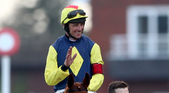 On top: Davy Russell hails his success on The Storyteller