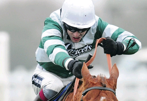 Brick Red, with Aidan Coleman on board, on way to  winning Mickey Boley Memorial Chase at Wincanton yesterday