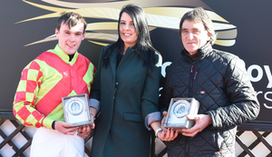 On top: Down Royal's Caroline Todd makes a presentation to the victorious Simon Torrens (left) and Christian Delcros (right)